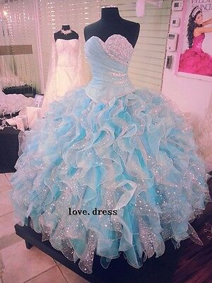 2014 New Blue Quinceanera Dress Formal Prom Party Ball Gown Custom All Size