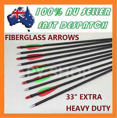 "10 x 33"" NEW FiberGlass Arrows 15-80lb Archery Hunting Compound Bow Fiber Glass"