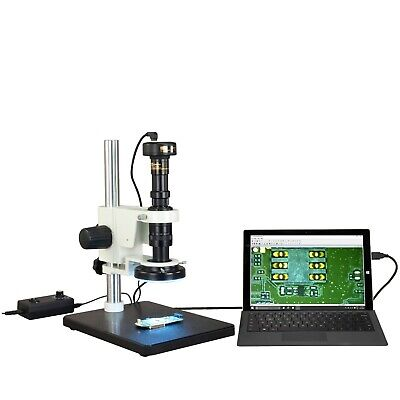 Industrial Inspection Zoom Stereo Microscope 7X-90X w 144 LED Light+2MP Camera