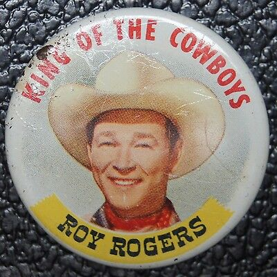 1953 VINTAGE - ROY ROGERS KING OF THE COWBOYS - Post's Grape-Nuts Flakes Button