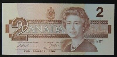 BANK OF CANADA - 1986 $2 Note - EGL - Signed Thiessen & Crow - NCC
