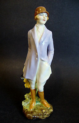 Unique Art Deco Royal Doulton Porcelain Female Figurine HN 1201 'Hunts Lady'
