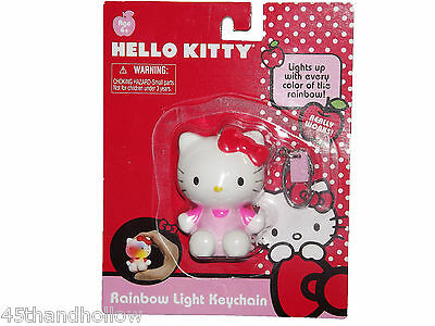 Hello Kitty Sanrio Rainbow Bright Light Keychain Keyring Keys Key Chain NWT