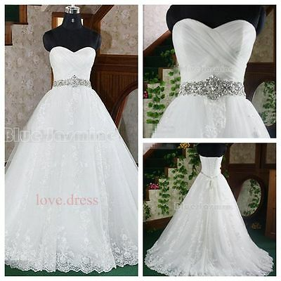 STOCK New Beaded White/Ivory Wedding Dress Bridal Gown Size 6-8-10-12-14-16-18
