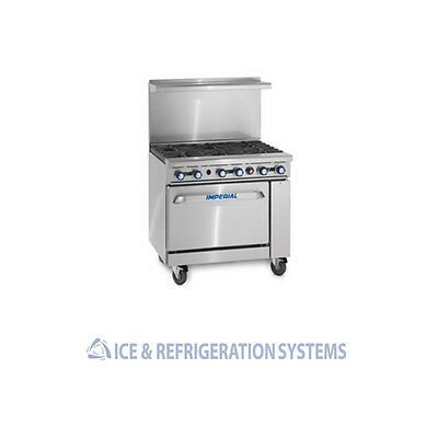 "Imperial Commercial 36"" Six Burner Gas Restaurant Range Oven Ir-6"