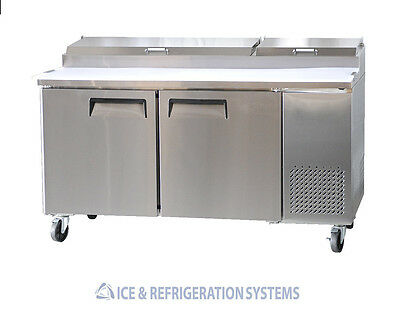 "Stainless Steel   67"" Commercial 2 Door Pizza Prep Table Refrigerator Cooler"