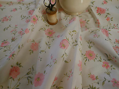 Sweetest Vintage French Shabby Cottage Soft Pink  Floral Roses Cotton Fabric ~