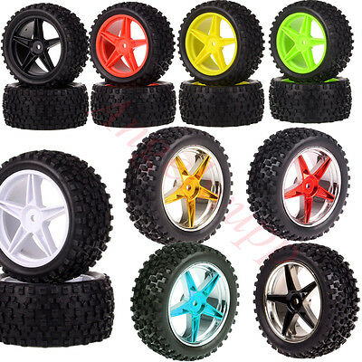 "Set RC 1:10 Off Road Buggy Knobby Tyre 06010 06026 2.2"" Wheel Rims HSP Redcat"