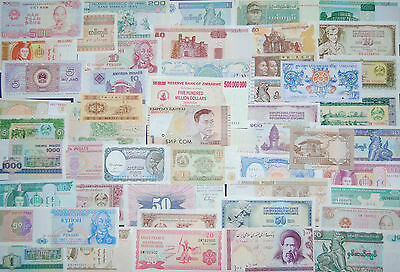 Collection Of 50 Uncirculated World Banknotes - No Duplicates! As Pictured!
