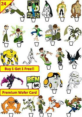 48 Ben 10 Ten Birthday Party Cup Cake Toppers Edible Card Wafer Rice *STAND UP*