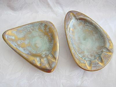 Vintage - Pair of STANGL Pottery Turquoise Gold Retro Ashtrays  3904 & 3938.