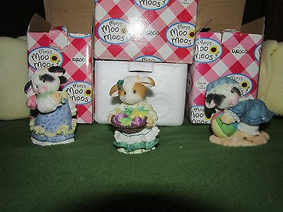 Mary's MOO MOOS 3 Collectibles Numbered, In Boxes, 1996, MARCH, MAY, AUGUST