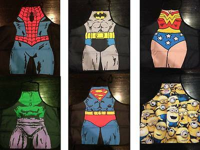 Kids Superhero Apron Kitchen Baker Chef Fancy Dress Up Costume Fun Girl/Boy