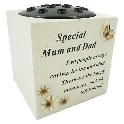 Special Mum and Dad Graveside Memorial Flower Pot Verse Grave Vase Loved Butterf