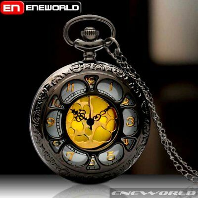 Vintage Gold Dial Quartz Retro Pocket Watch Necklace Chain Pendant Antique Mens