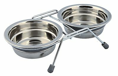 Anti Rattle Eat on Feet Stainless Steel Bowl Set for Cats & Puppies 2 x 0.25L
