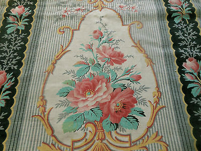 Antique French Softend Roses Medallion Cotton Fabric ~ Coral Pink Red Aqua Black