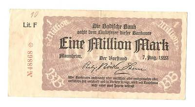 1923 Germany Weimar Republic 1.000.000 / 1 million mark banknote Manheim
