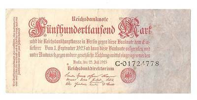 1923 Germany Weimar Republic 500.000  mark banknote