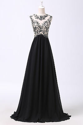 Charming Applique Long Evening Dress Party Formal Gown Bridesmaid Prom Dresses