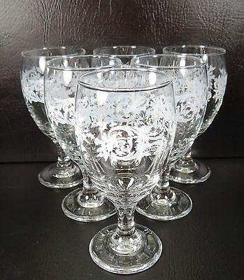 Libbey Snowflakes & Swirls set of 6 Water Ice Tea Goblets Christmas Excellent