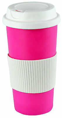 Coffee 16oz Thermal Mug Travel To Go Double Walled W/ Lid Pink Reusable Cup