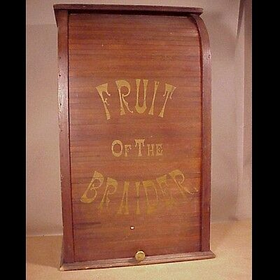Antique Roll Front Advertising Thread Spool Cabinet Fruit of the Braider