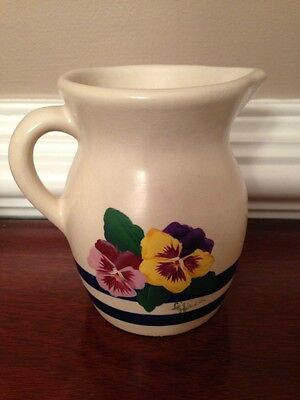 Vintage Robinson Ransbottom Pitcher, signed, cream with blue stripes and pansies