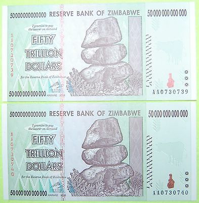 2X Zimbabwe 50 Trillion Banknotes Uncirculated - 100 Trillion Total! - 2008 Aa