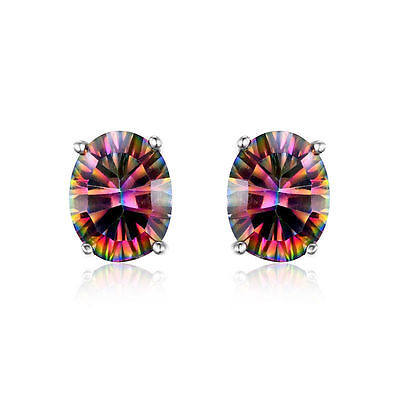 JewelryPalace Genuine Fire Rainbow Topaz Earrings Stud Solid 925 Sterling Silver