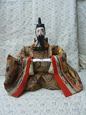 JD108 Japanese Antique Emperor Jinmu Tenno Musha Hina Doll Ningyo early 20th c.