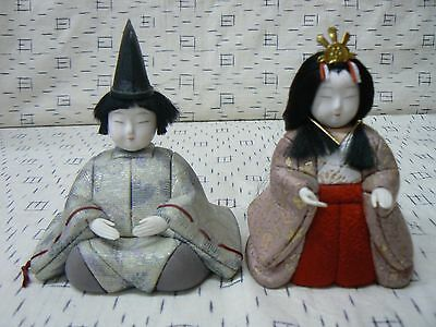 JD 113 Vintage Japanese Kimekomi Dolls Emperor and Empress Ningyo set 3 of 3