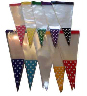 POLKA DOT SPOT Cone Cello Cellophane Party Sweet Candy Bags & Twist Ties xmas