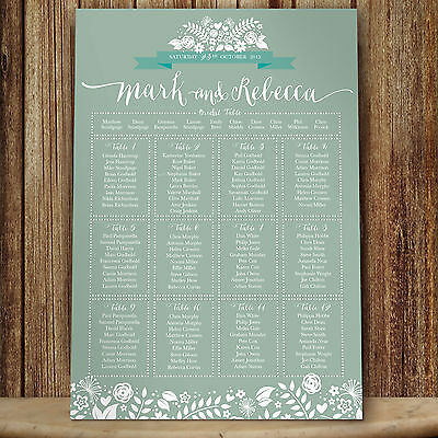 Personalised Wedding Table Seating Plan 2 Hearts - Meadow