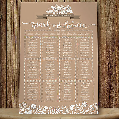 Personalised Wedding Table Seating Plan 2 Hearts - Sand