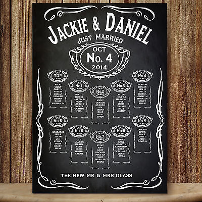 Personalised Unique Vintage Chalkboard  Style Wedding Table Seating Plan - Jd