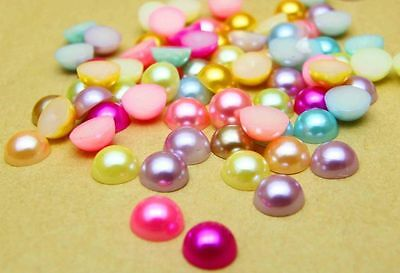 100pcs Mixed Half Pearl Round Bead Flat Back 8mm Scrapbook for Craft FlatBack