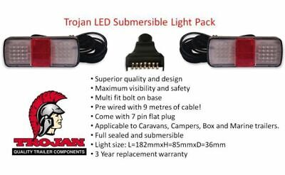 371051 Trojan Submersible Led Lights 9M Cable Boat Trailer Prewired Rear Tail