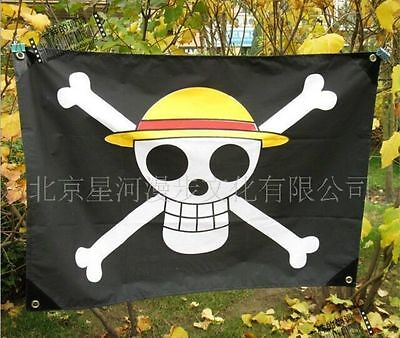 One Piece Anime Luffy Skull Pirate Drapeau Flag Banner Cosplay