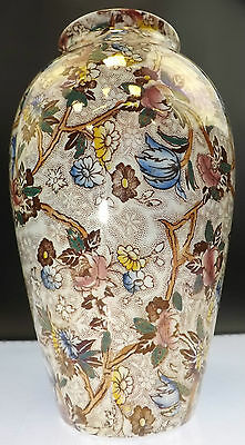 BEAUTIFULLY DETAILED MALING CHINTZ VASE PEARLESCENT GLAZING WITH FLOWER PATTERN