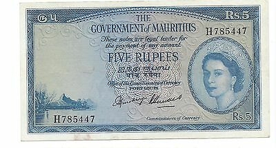 Mauritius no date (1954) 5 Rupees  Pick 27 EF-A. UNC x Ruth Hill tough type note