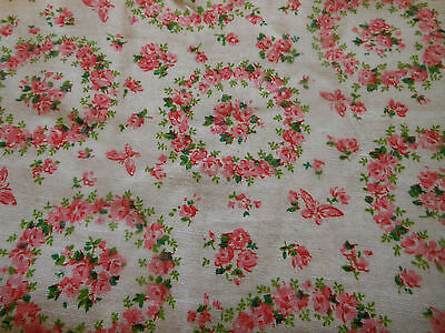 Antique Roses Wreath  Butterfly Cotton Fabric ~ pink green ~ 1920's-30's