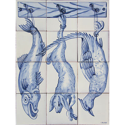 Portuguese Painted Clay Azulejos Tiles Mural Panel CORREIO MOR KITCHEN ANIMALS