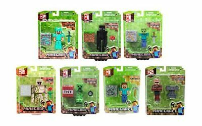 "Minecraft 3"" Action Figures Golem Diamond Steve Zombie Creeper Alex Spider NEW!"