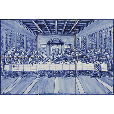 Portuguese Traditional Blue Azulejos Tiles Panel RELIGIOUS LAST SUPPER OF CHRIST