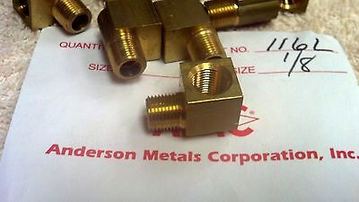 "Brass Pipe Fitting Elbow, ANDERSON METALS, 1/8"" NPTM x 1/8"" NPTFM,MCMC #50785K41"