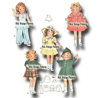 """Vintage 30s Shirley Temple Doll Clothes Pattern ~ 18"""" 19"""" Composition Patsy Ann"""