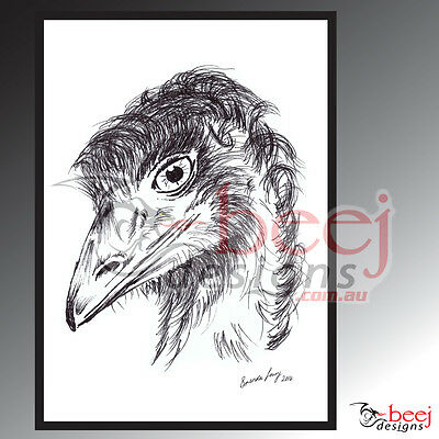 Emu Aussie outback wild life bird Ink drawing Art Signed A4 poster Print feather