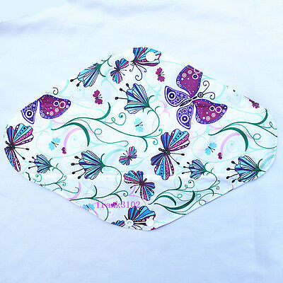 "Overnight 14"" Purple BUTTERFLY Washable CHARCOAL Bamboo Cloth Mama Menstrual Pad"