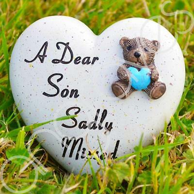 A Dear Son Sadly Missed Memorial Memento Ornament Graveside Teddy Child Heart